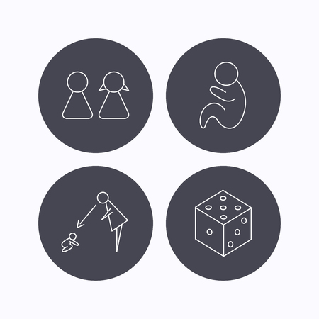 fiscalizacion: Couple, paediatrics and dice icons. Under supervision linear sign. Flat icons in circle buttons on white background. Vector