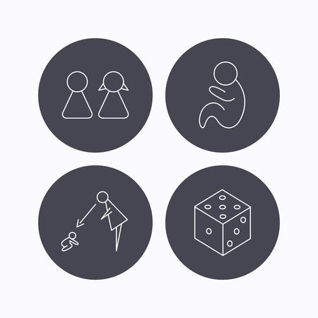 supervision: Pareja, pediatría y los iconos de los dados. Bajo el signo de la supervisión lineal. iconos planos de botones de círculo sobre fondo blanco. Vector
