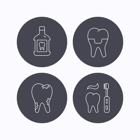 paradontosis: Caries, dental crown and mouthwash icons. Brushing teeth linear sign. Flat icons in circle buttons on white background. Vector Illustration