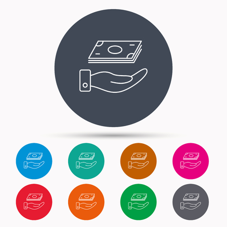 Save money icon. Hand with cash sign. Investment or savings symbol. Icons in colour circle buttons. Vector