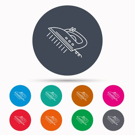housework: Steam ironing icon. Iron housework tool sign. Icons in colour circle buttons. Vector Illustration