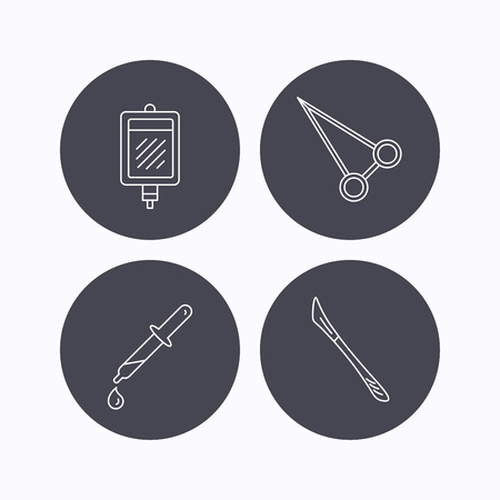 forceps: Pipette, blood donation and scalpel icons. Peans forceps linear sign. Flat icons in circle buttons on white background. Vector Illustration