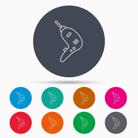Boor hulpmiddelpictogram. Elektrisch jack-hamerbord. Pictogrammen in kleurcirkelknoppen. Vector