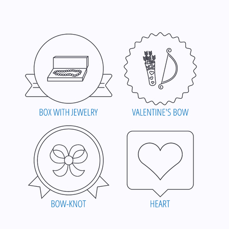 amour: Love heart, jewelry and bow-knot icons. Valentine amour arrows linear sign. Award medal, star label and speech bubble designs. Vector Illustration