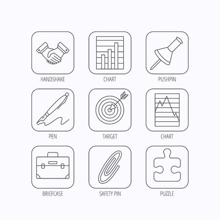 white pushpin: Handshake, graph charts and target icons. Puzzle, pushpin and safety pin linear signs. Briefcase and pen flat line icons. Flat linear icons in squares on white background. Vector