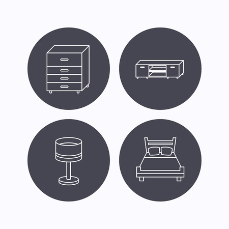 chest of drawers: Double bed, table lamp and TV table icons. Chest of drawers linear sign. Flat icons in circle buttons on white background. Vector