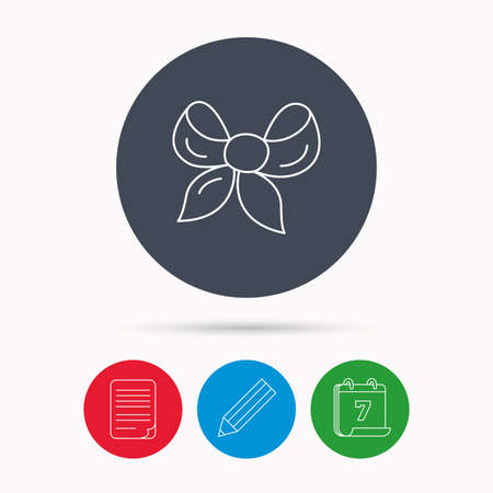 tied girl: Gift bow icon. Present decoration sign. Ribbon for packaging symbol. Calendar, pencil or edit and document file signs. Vector