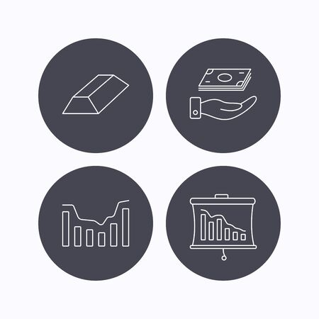 gold bar: Save money, dynamics chart and statistics icons. Gold bar linear sign. Flat icons in circle buttons on white background. Vector