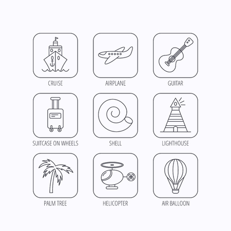thin shell: Cruise, airplane and helicopter icons. Palm tree, shell and lighthouse linear signs. Air balloon, guitar and luggage icons. Flat linear icons in squares on white background. Vector