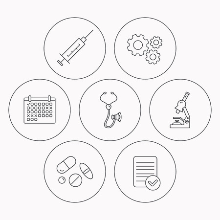 histology: Syringe, stethoscope and microscope icons. Medical pills linear sign. Check file, calendar and cogwheel icons. Vector Illustration