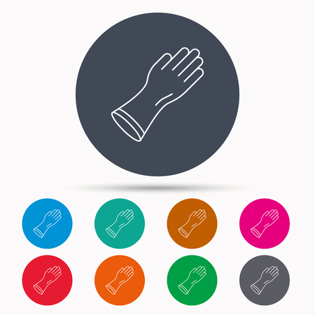 latex glove: Rubber gloves icon. Latex hand protection sign. Housework cleaning equipment symbol. Icons in colour circle buttons. Vector