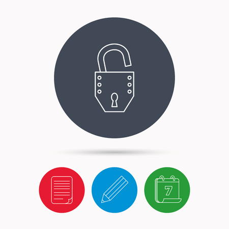 open file: Open lock icon. Padlock or protection sign. Password symbol. Calendar, pencil or edit and document file signs. Vector