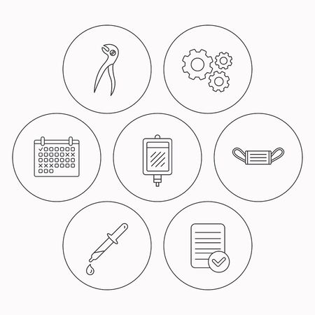 medical check: Medical mask, blood and dental pliers icons. Pipette linear sign. Check file, calendar and cogwheel icons. Vector