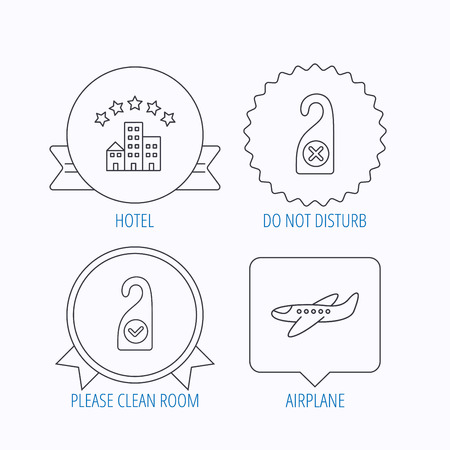 5 door: Hotel, airplane and clean room icons. Do not disturb linear sign. Award medal, star label and speech bubble designs. Vector Illustration