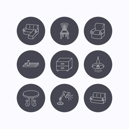 line black: Corner sofa, table and armchair icons. Chair, ceiling lamp and nightstand linear signs. Wall shelf furniture flat line icons. Flat icons in circle buttons on white background. Vector