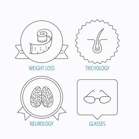 neurosurgery: Glasses, neurology and trichology icons. Weight loss linear sign. Award medal, star label and speech bubble designs. Vector