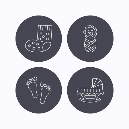 newborn footprint: Footprint, cradle and newborn baby icons. Socks linear sign. Flat icons in circle buttons on white background. Vector