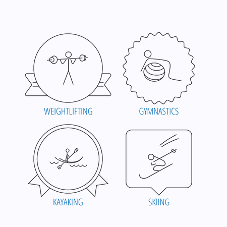 water skiing: Gymnastics, kayaking and skiing icons. Weightlifting linear sign. Award medal, star label and speech bubble designs. Vector