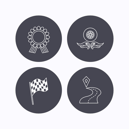 race winner: Winner award medal, destination and flag icons. Race flag, wheel on fire linear signs. Flat icons in circle buttons on white background. Vector