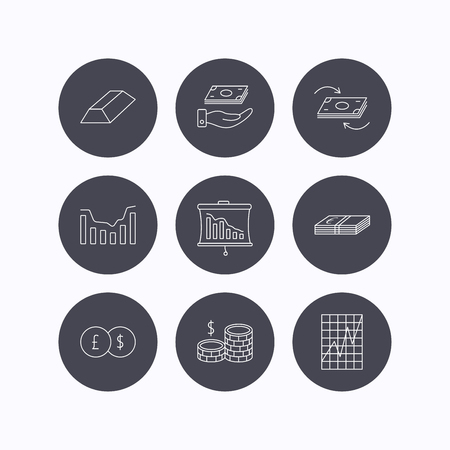 deceleration: Banking, cash money and statistics icons. Money flow, gold bar and dollar usd linear signs. Dynamics chart, coins and savings icons. Flat icons in circle buttons on white background. Vector
