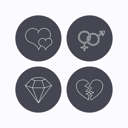brilliant heart: Love heart, brilliant diamond and male, female icons. Broken heart or divorce linear sign. Flat icons in circle buttons on white background. Vector Illustration