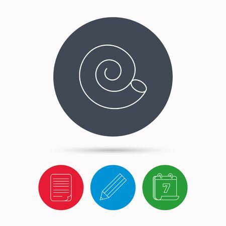 mollusk: Sea shell icon. Spiral seashell sign. Mollusk shell symbol. Calendar, pencil or edit and document file signs. Vector Illustration