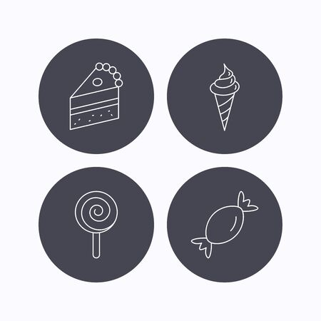 lolly: Cake, candy and ice cream icons. Piece of cake, lolly pop linear sign. Flat icons in circle buttons on white background. Vector