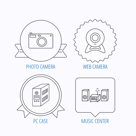 pc case: Photo camera, pc case and music center icons. Web camera linear sign. Award medal, star label and speech bubble designs. Vector