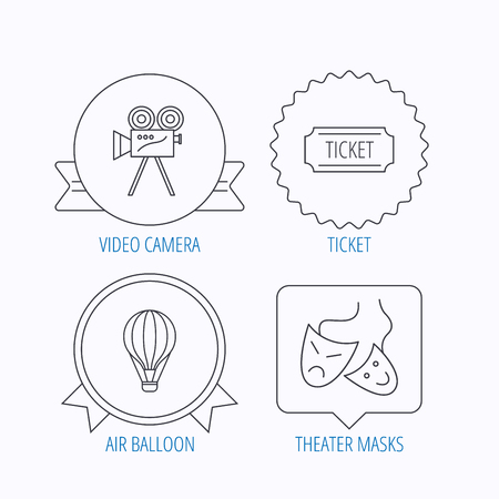theatre masks: Video camera, ticket and theatre masks icons. Air balloon linear sign. Award medal, star label and speech bubble designs. Vector