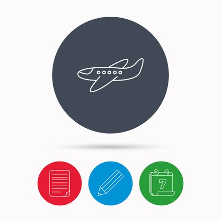 airplane take off: Airplane icon. Aircraft travel sign. Flight transport symbol. Calendar, pencil or edit and document file signs. Vector