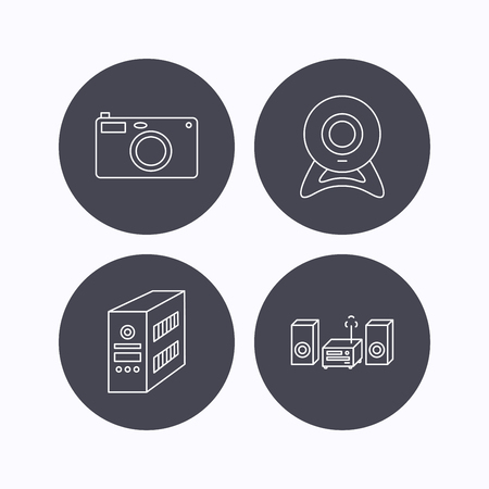 pc case: Photo camera, pc case and music center icons. Web camera linear sign. Flat icons in circle buttons on white background. Vector
