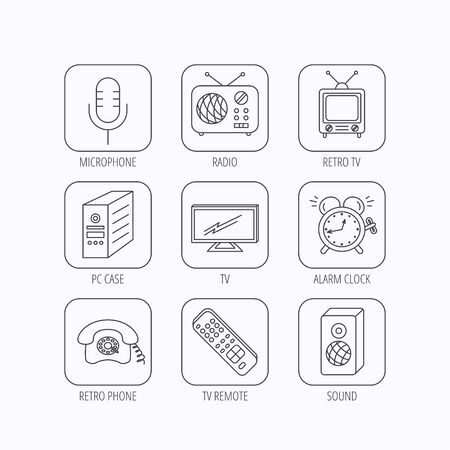 clock radio: TV remote, retro phone and radio icons. PC case, microphone and alarm clock linear signs. Flat linear icons in squares on white background. Vector Illustration