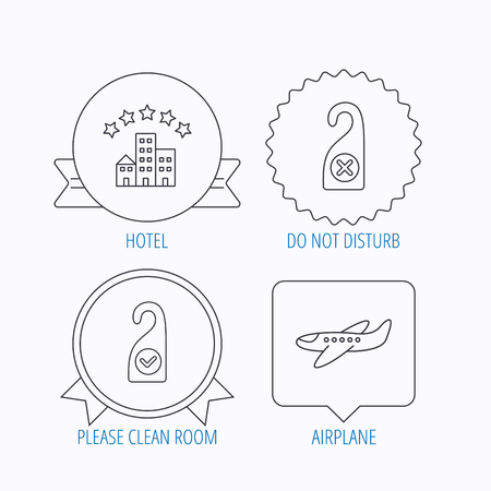 5 door: Hotel, airplane and do not disturb icons. Clean room linear sign. Award medal, star label and speech bubble designs. Vector