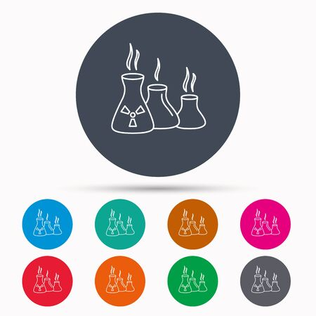 hazardous metals: Industry building icon. Manufacturing sign. Chemical toxic production symbol. Icons in colour circle buttons. Vector