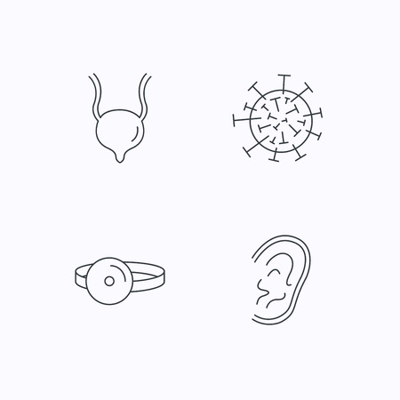 urinary bladder: Virus, urinary bladder and ear icons. Medical mirror linear signs. Flat linear icons on white background. Vector Illustration