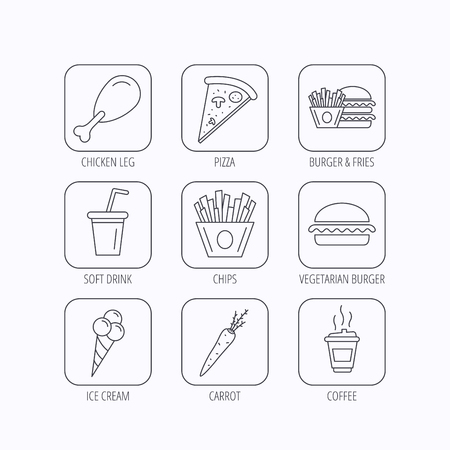 Vegetarian burger, pizza and soft drink icons. Coffee, ice cream and chips fries linear signs. Chicken leg, carrot icons. Flat linear icons in squares on white background. Vector Vettoriali