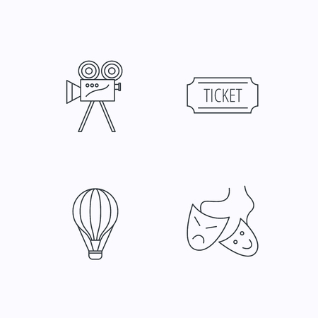 theatre masks: Video camera, ticket and theatre masks icons. Air balloon linear sign. Flat linear icons on white background. Vector
