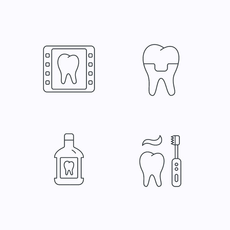 mouthwash: Dental crown, x-ray and brushing teeth icons. Mouthwash linear sign. Flat linear icons on white background. Vector Illustration