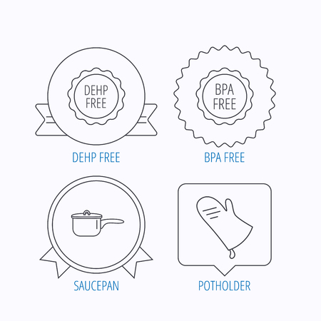 bpa: Saucepan, potholder and BPA free icons. DEHP free linear sign. Award medal, star label and speech bubble designs. Vector