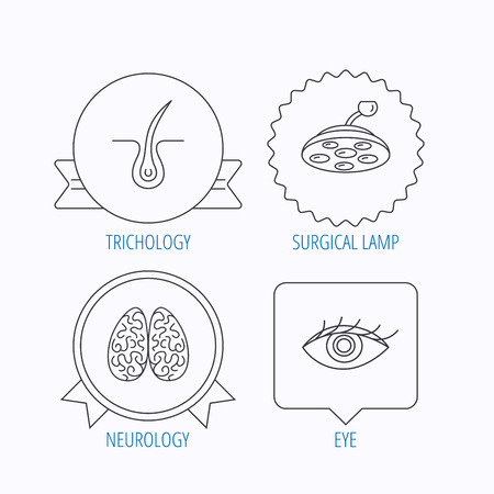 neurology: Eye, neurology brain and surgical lamp icons. Trichology linear sign. Award medal, star label and speech bubble designs. Vector
