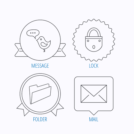 folder lock: Lock, folder hand and e-mail icons. Bird message linear sign. Award medal, star label and speech bubble designs. Vector