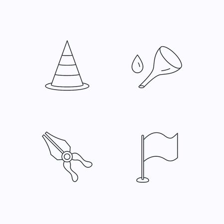 oil change: Flag, traffic cone and oil change icons. Pliers linear sign. Flat linear icons on white background. Vector