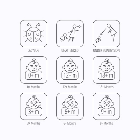 12 18 months: Infant child, ladybug and toddler baby icons. 0-18 months child linear signs. Unattended, parents supervision icons. Flat linear icons in squares on white background. Vector