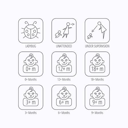 supervision: Niño infantil, mariquita y bebé niño iconos. 0-18 meses signos lineales niño. Desatendido, iconos padres de supervisión. iconos lineales planas en cuadrados sobre fondo blanco. Vector Vectores