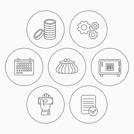 give money: Give money, cash money and wallet icons. Safe box, coins linear signs. Check file, calendar and cogwheel icons. Vector Illustration