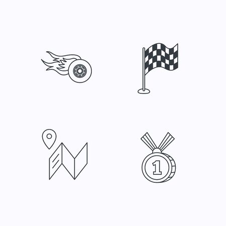 race winner: Race flag, map and winner award icons. First place medal, wheel on fire linear signs. Flat linear icons on white background. Vector Illustration