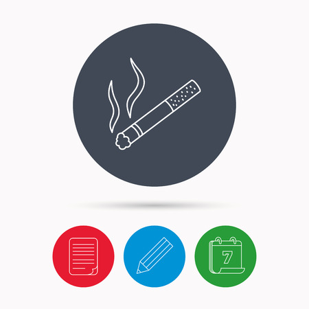 cigar shape: Smoking allowed icon. Yes smoke sign. Calendar, pencil or edit and document file signs. Vector