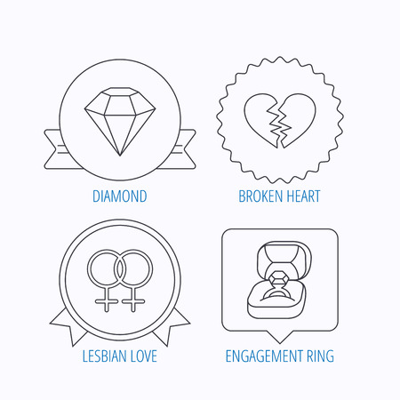 lesbian love: Broken heart, diamond and engagement ring icons. Lesbian love linear sign. Award medal, star label and speech bubble designs. Vector