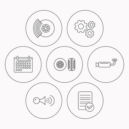 muffler: Tire tread, brakes and steering wheel icons. Muffler, klaxon signal linear signs. Check file, calendar and cogwheel icons. Vector Illustration