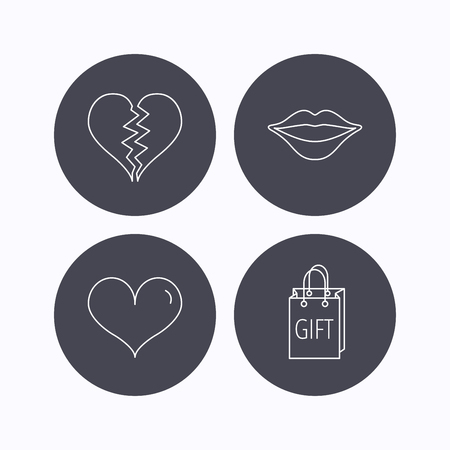 kiss lips: Love heart, kiss lips and gift icons. Broken heart linear sign. Flat icons in circle buttons on white background. Vector Illustration